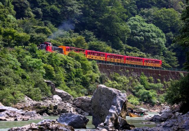 保津川下りとトロッコ列車